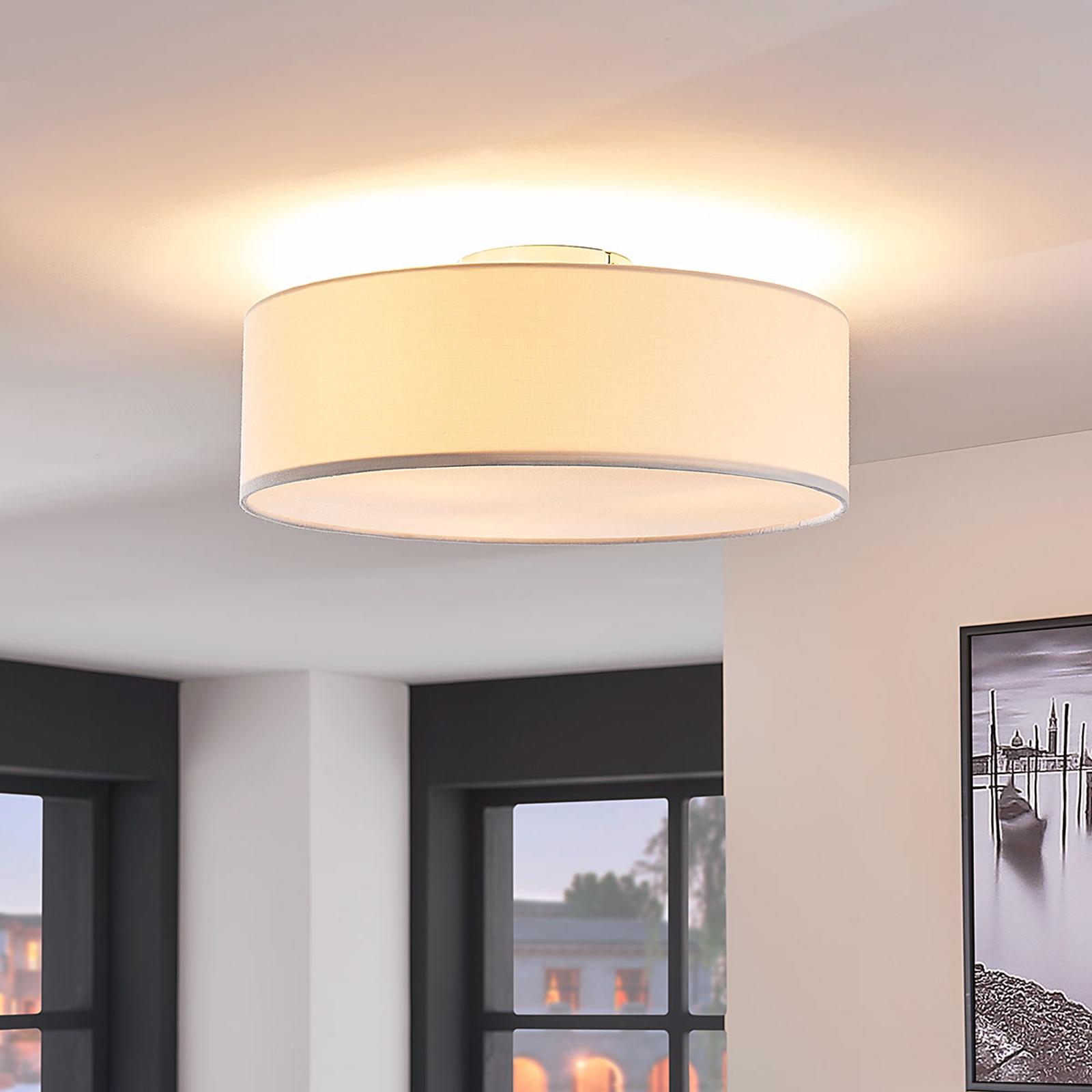 Plafondlamp Sebatin van stof, crèmekleurig