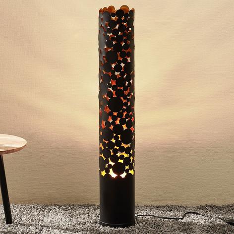 Lampada LED da terra Coins, effetto fiamma, nera