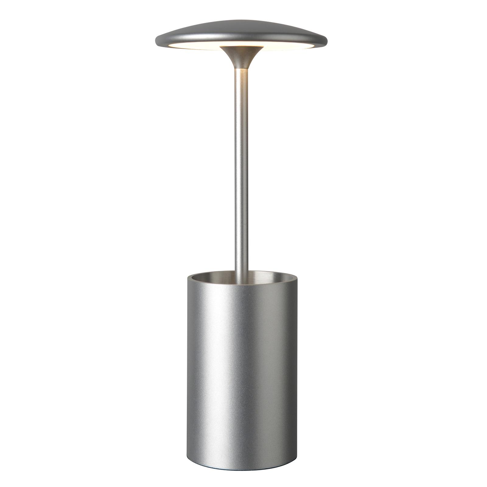 Lampe à poser LED Pott avec support, argentée