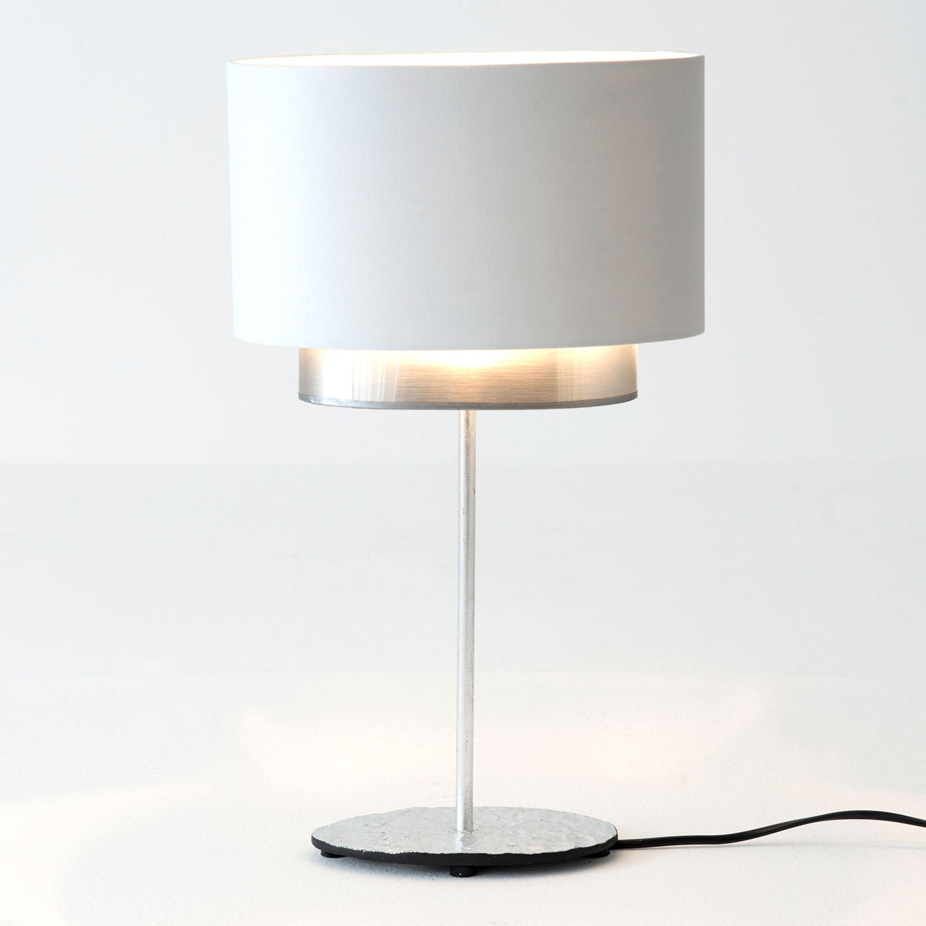 Tafellamp Mattia, ovaal, dubbel, wit/zilver