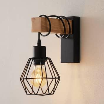 Wandlampe Townshend 5 Holz ausladend + Schirm
