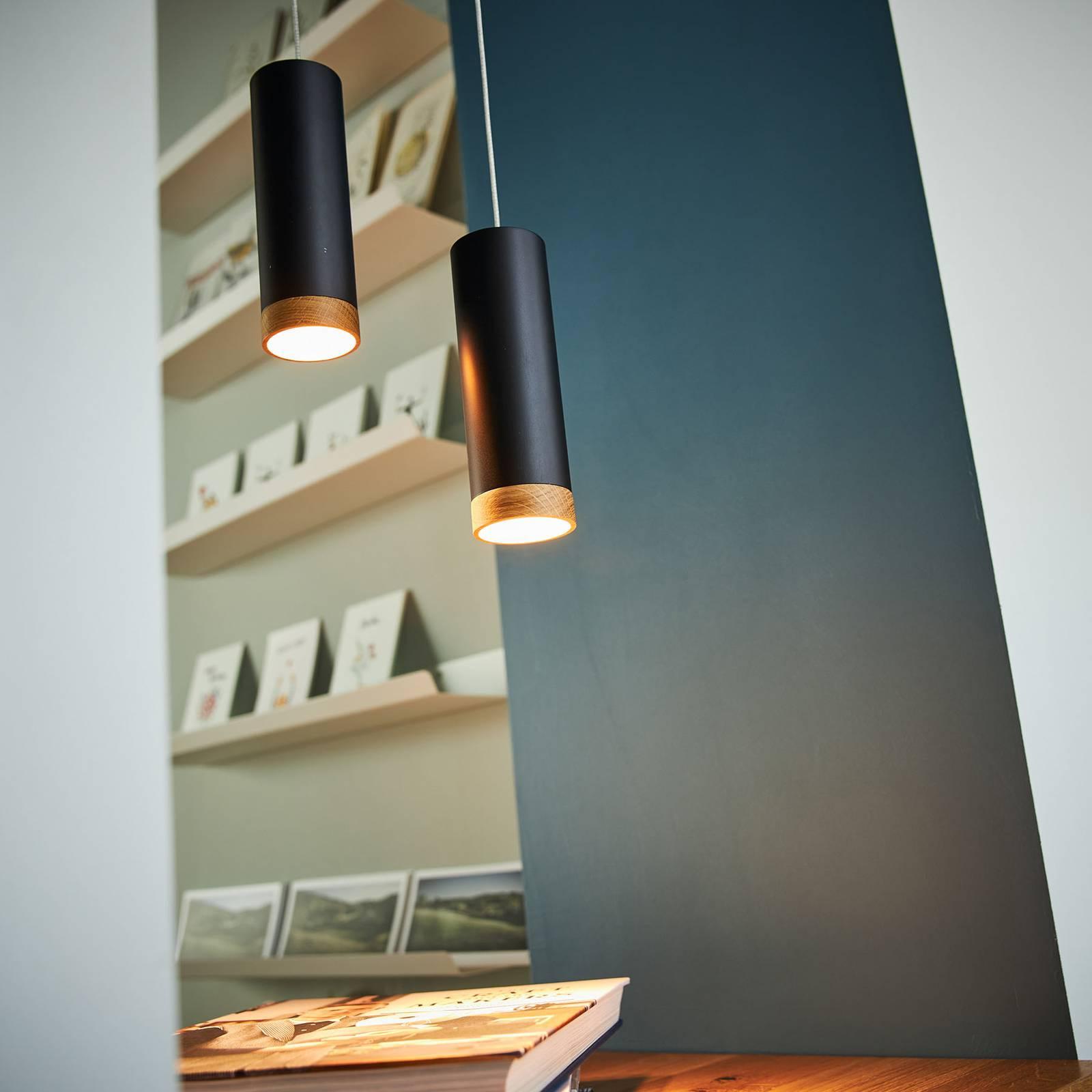 Lampa wisząca LED PHEB, czarny/dąb