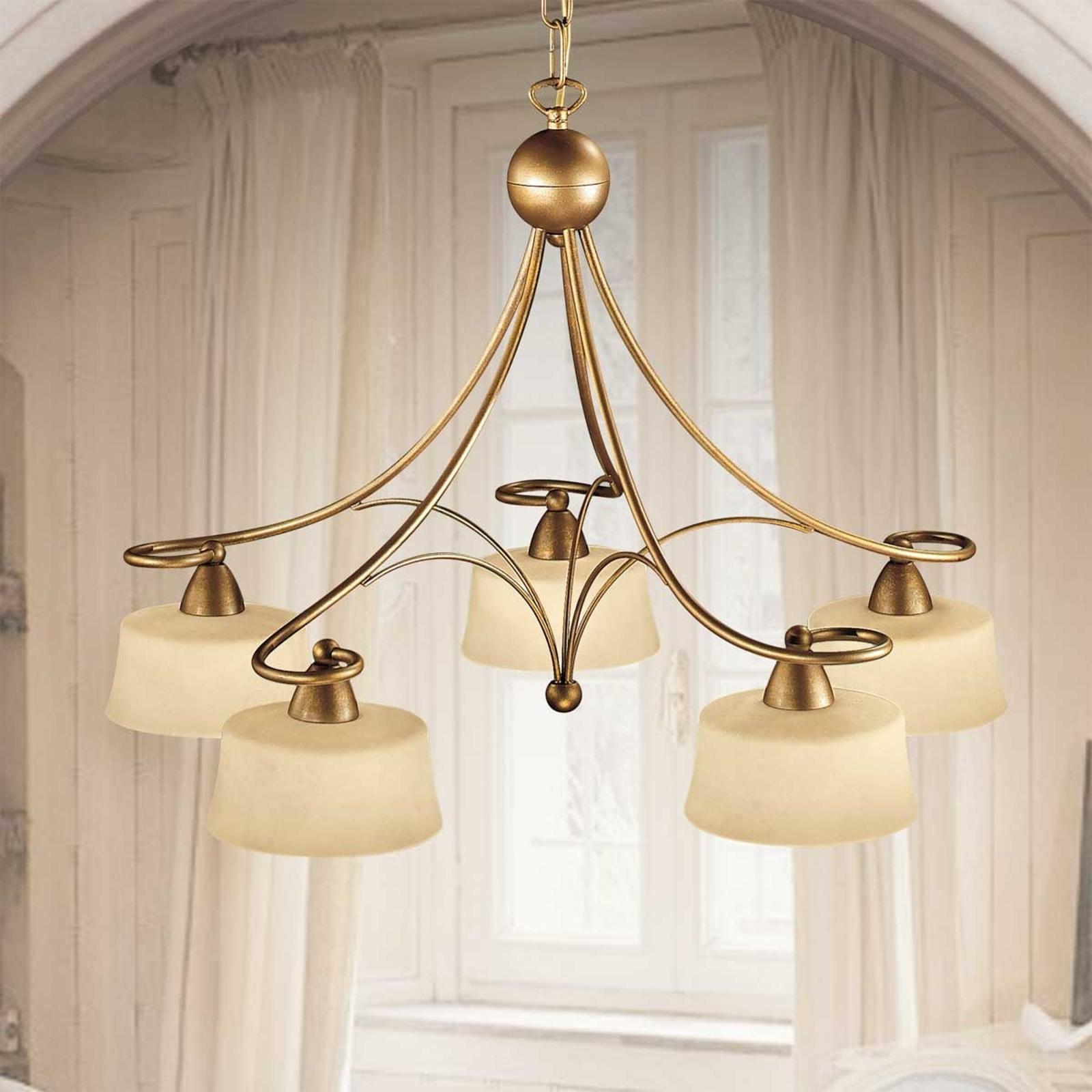 Lampa wisząca Alessio z 5 kloszami ze szkła Scavo