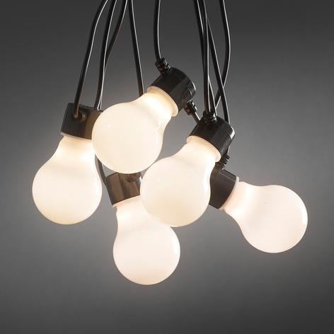 LED-lyslenke m. opalhvite pærer, utebruk, 10 lys