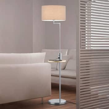 Lámpara de pie Claas, estante, puerto USB, níquel