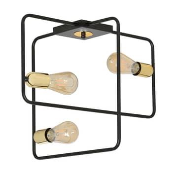Stropní světlo Savo 3 s kovovým rámem, černá-zlatá