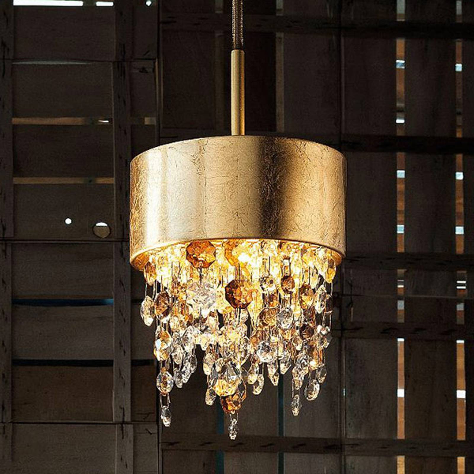 LED hanglamp Olà S2 15, Ø15cm, bladgoud/amber