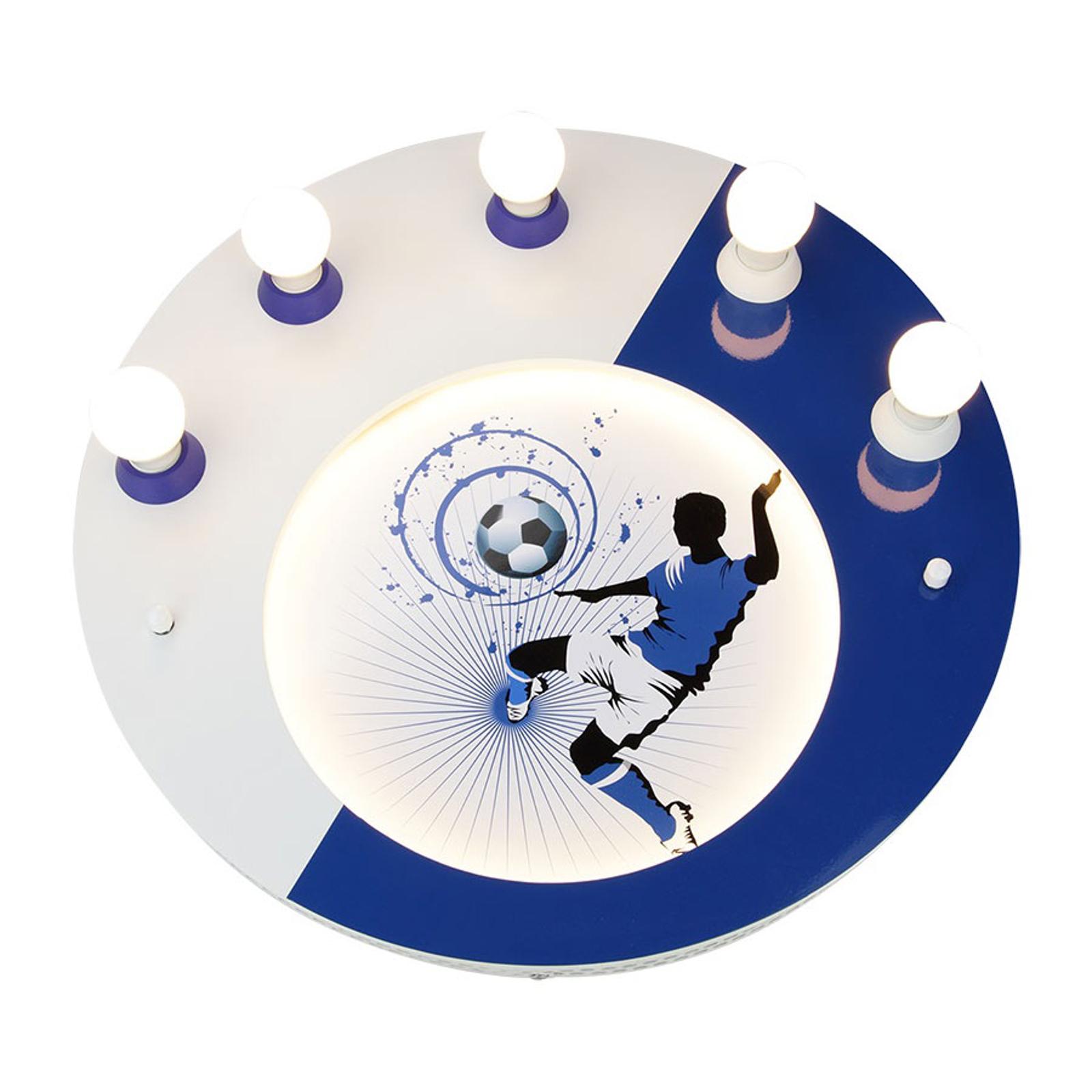 Lampa sufitowa Soccer, 5-punktowa, niebiesko-biała