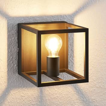 Lindby Meron wandlamp, doosvorm, zwart