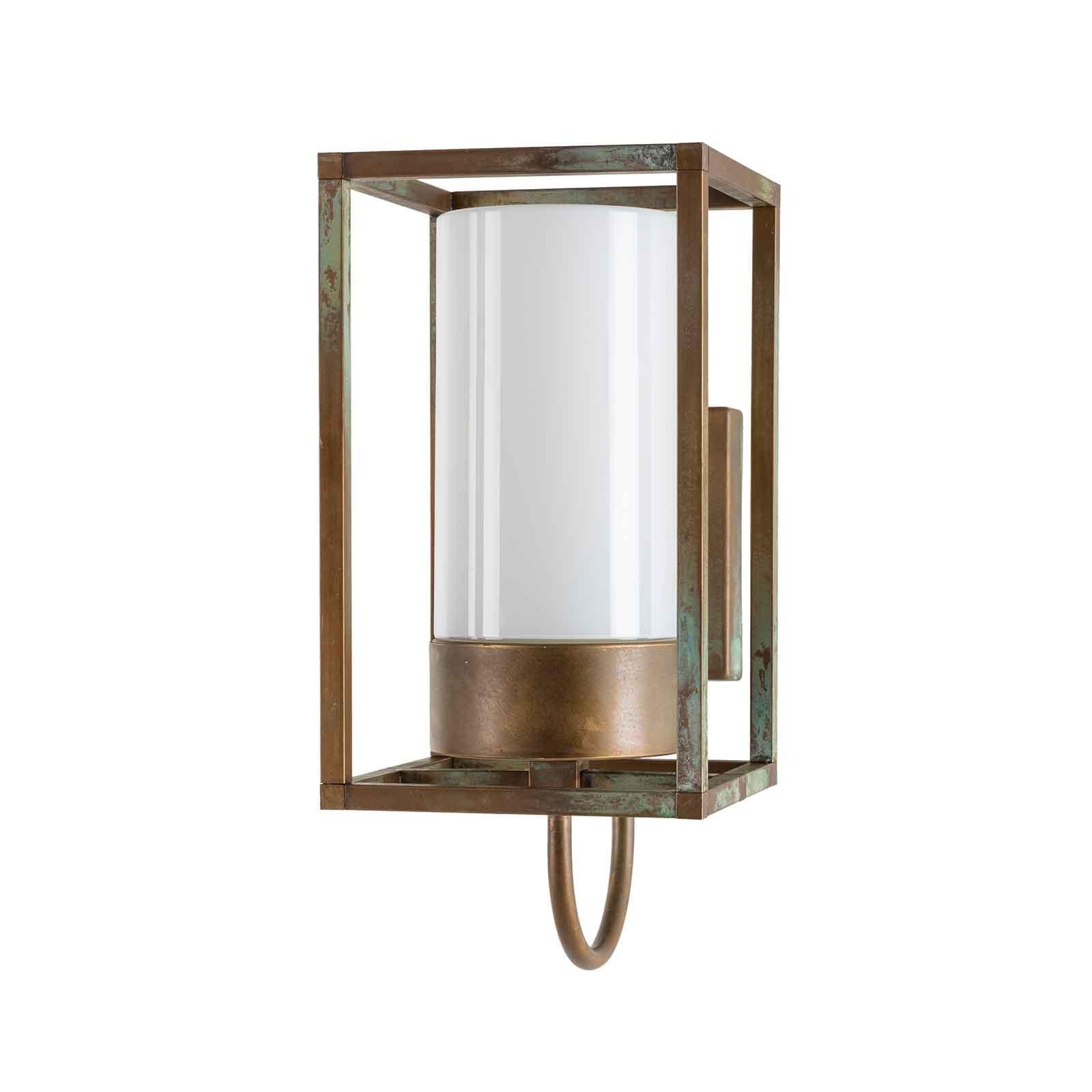 Buitenwandlamp Cubic³ 3362 messing antiek/opaal