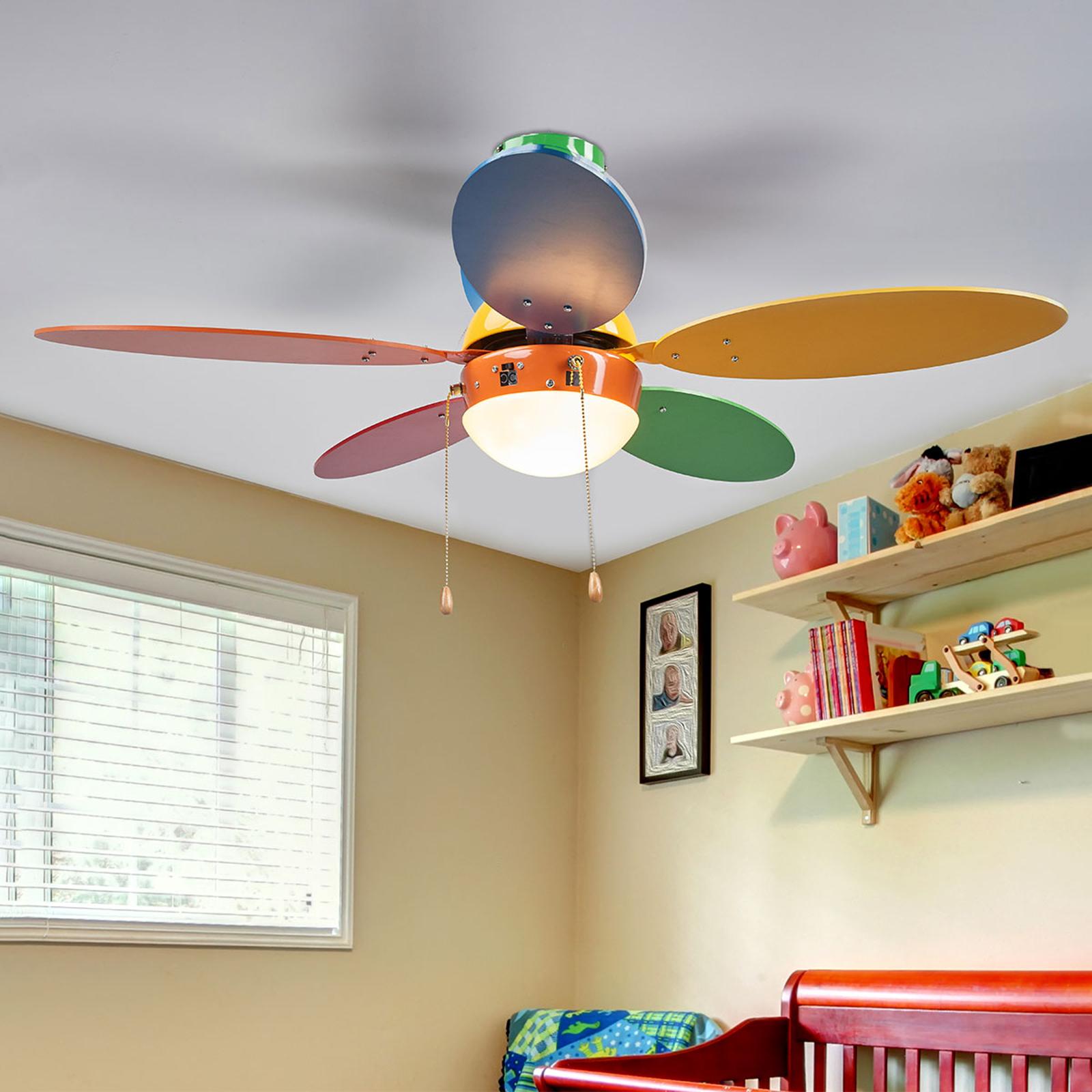 Barevný stropní ventilátor Corinna se světlem