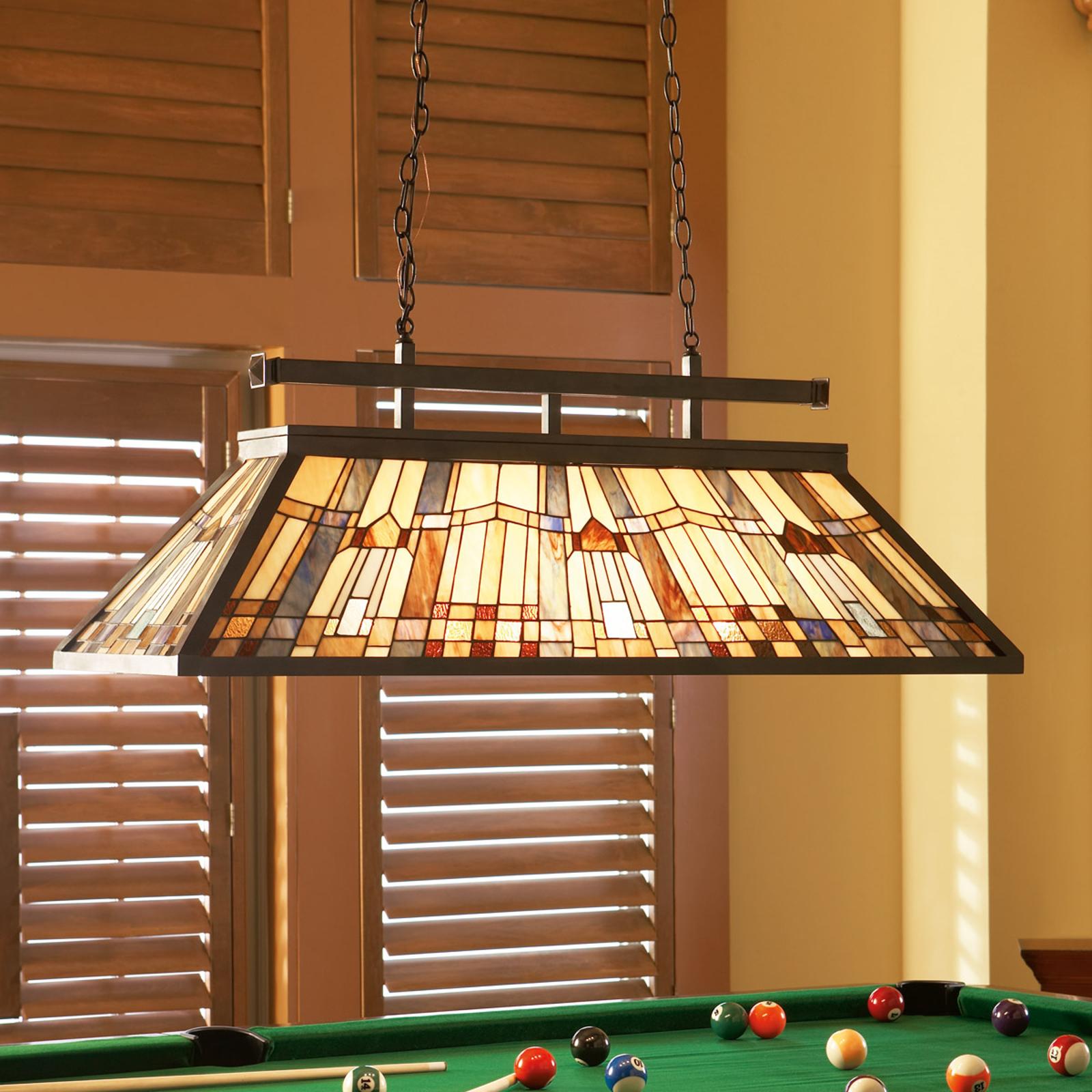 Hanglamp Inglenook met bont glas, L 121 cm