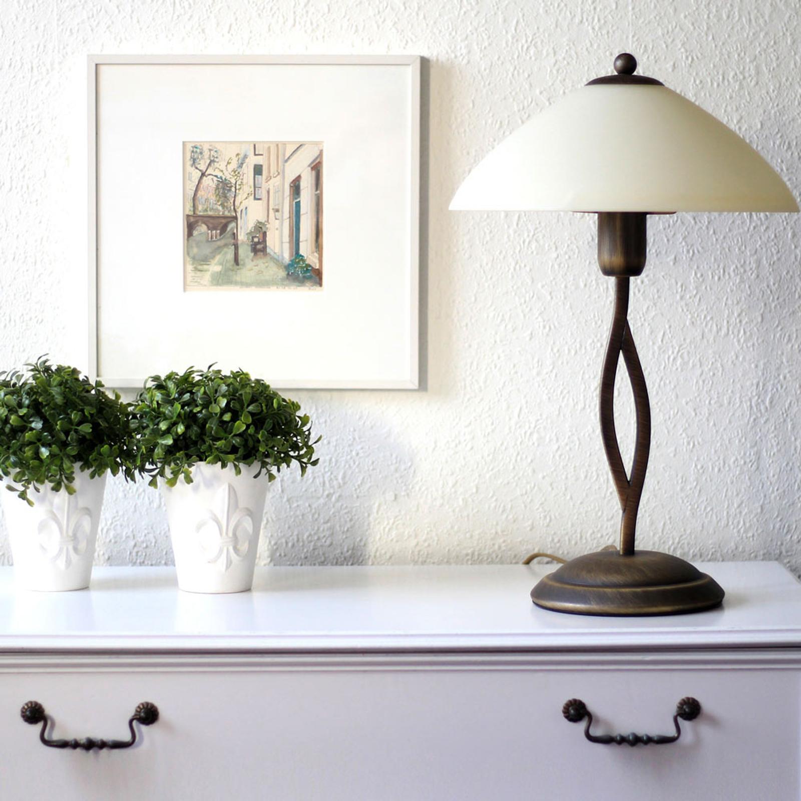 Tischleuchte Capri Höhe 45 cm creme/bronze