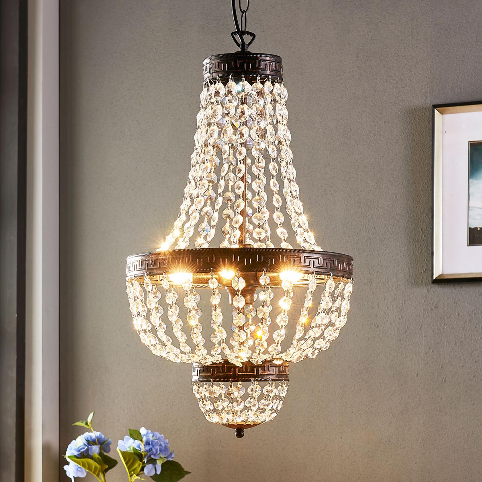Fascynująca lampa wisząca Jorve z kryształem