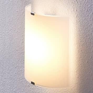 Halbrunde LED-Wandleuchte Helmi mit Glasschirm