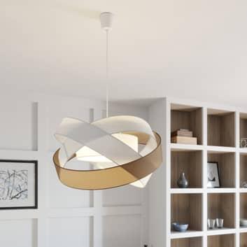 Lindby Simaria Stoffen hanglamp, bruin/grijs/wit