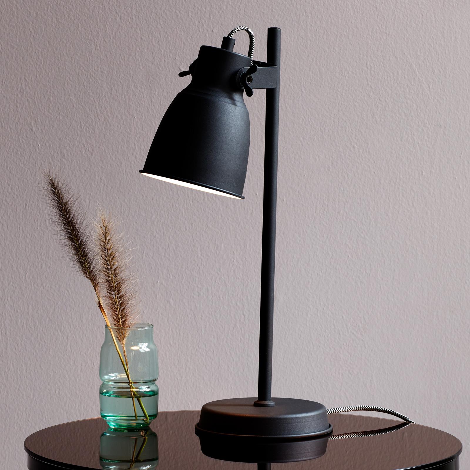 Tafellamp Adrian van metaal, zwart