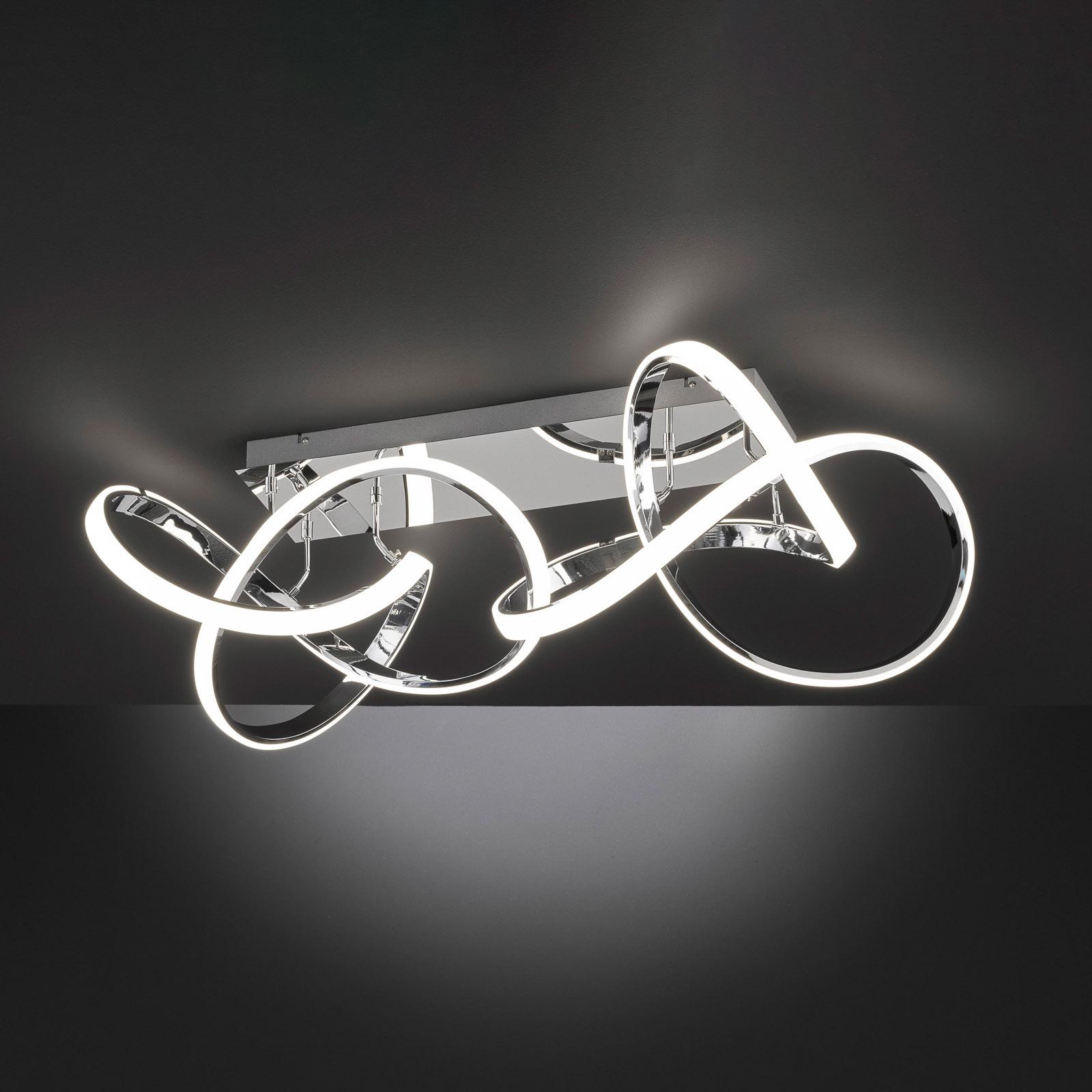 LED-taklampe Indigo, 2 lyskilder, blank krom