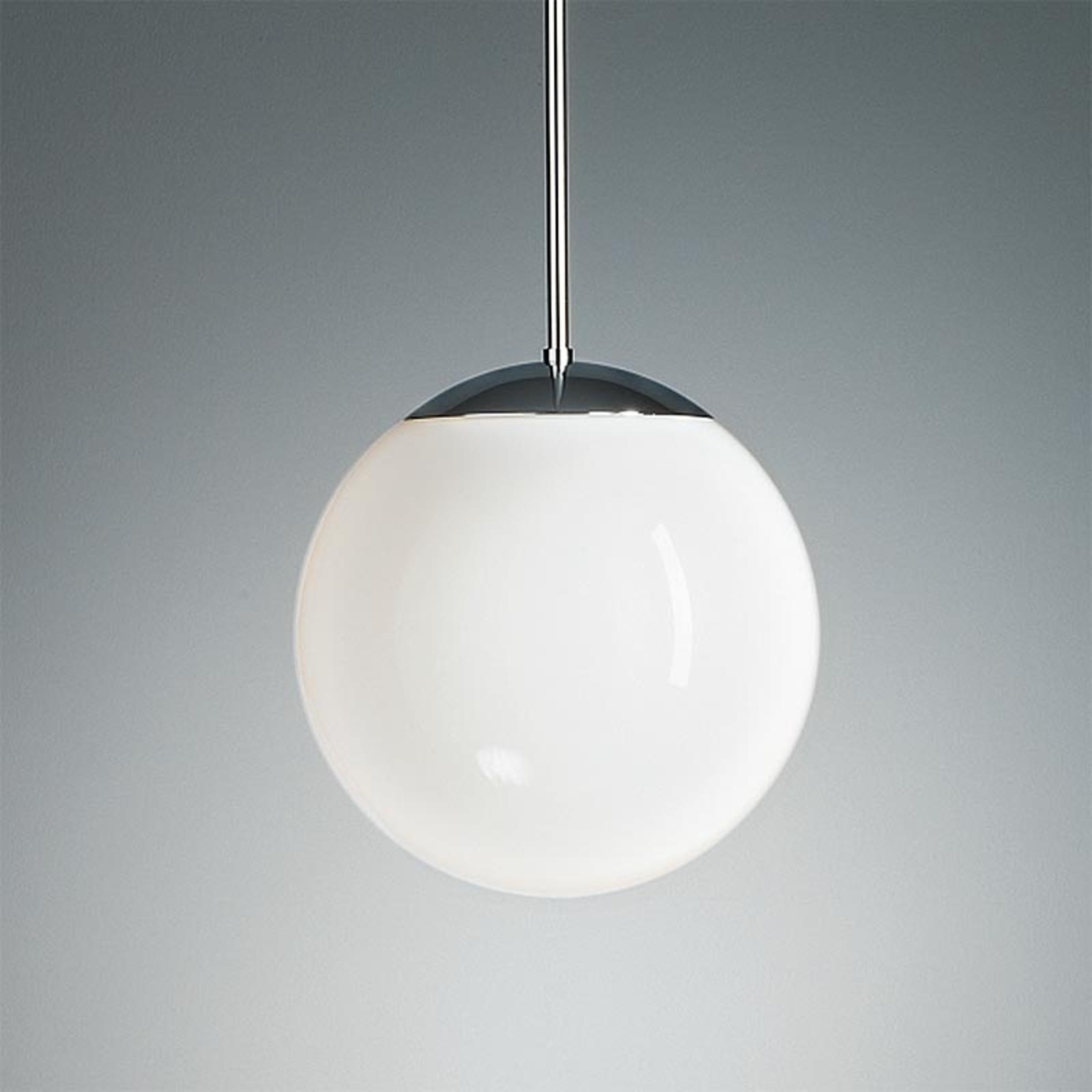 Suspension chromée à boule opale 20 cm