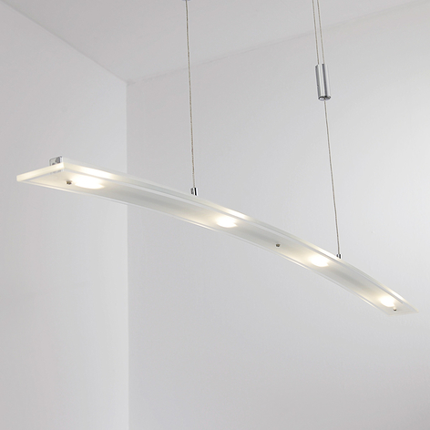 Lampada sospesa LED Juna, paralume in vetro, 98 cm
