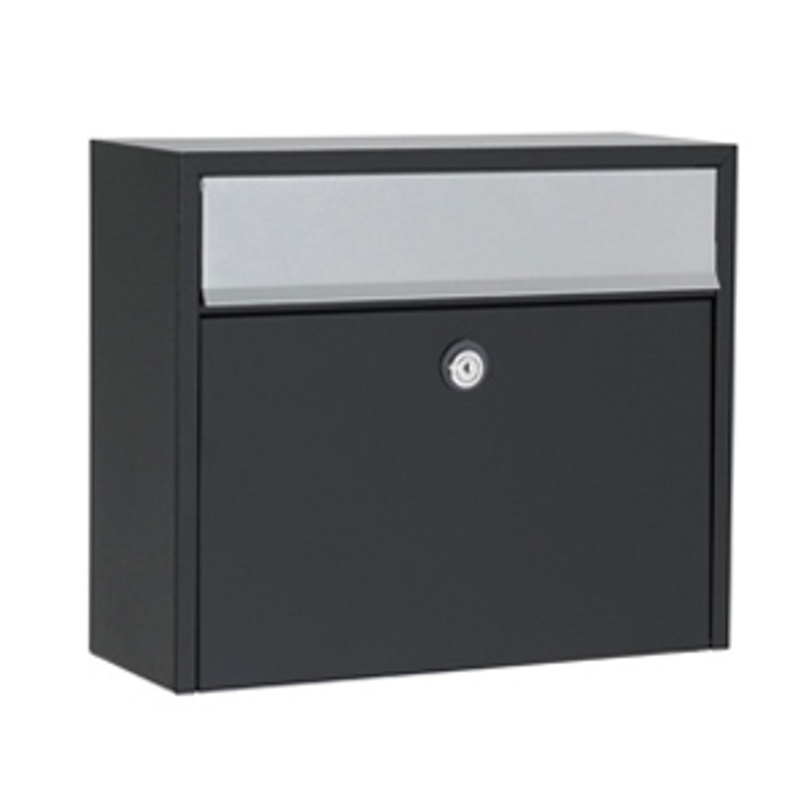 Enkel postkasse LT150, svart med Euro-lås