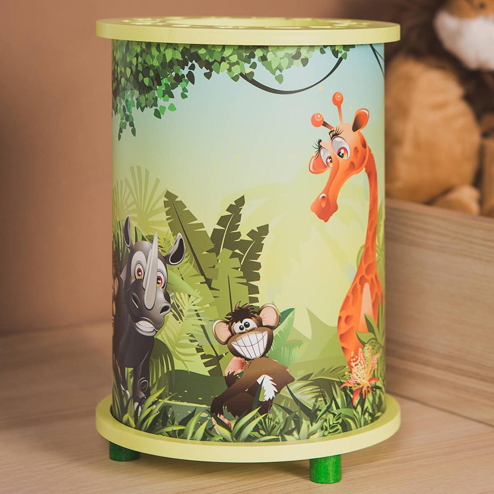 Mit Tiermotiven bedruckte Tischleuchte Wildnis
