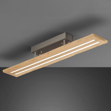 Plafonnier LED Cyra bois naturel, bordure bois