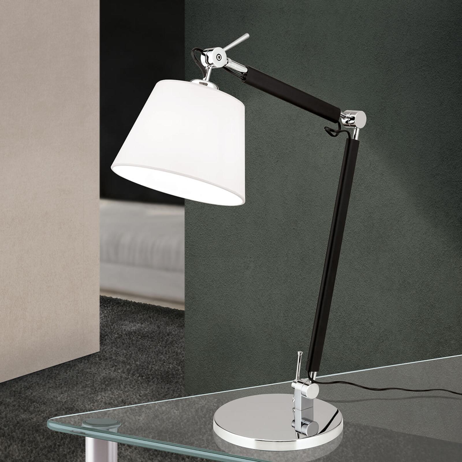 Elastyczna lampa biurkowa Leandro z tkaniny