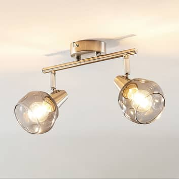 Lindby Almina taklampe, røykglass, 2 lyskilder