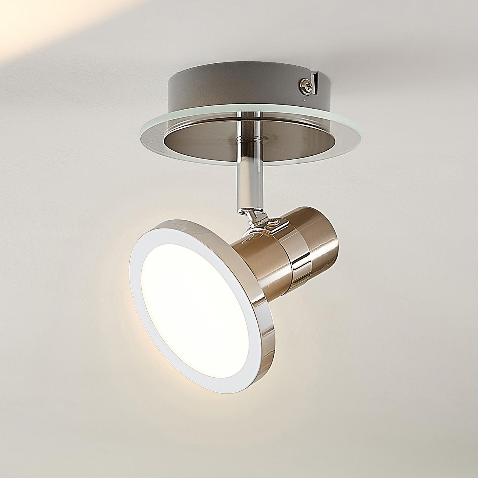 Lindby Kajetan LED spot, nikkel, 1-lamp