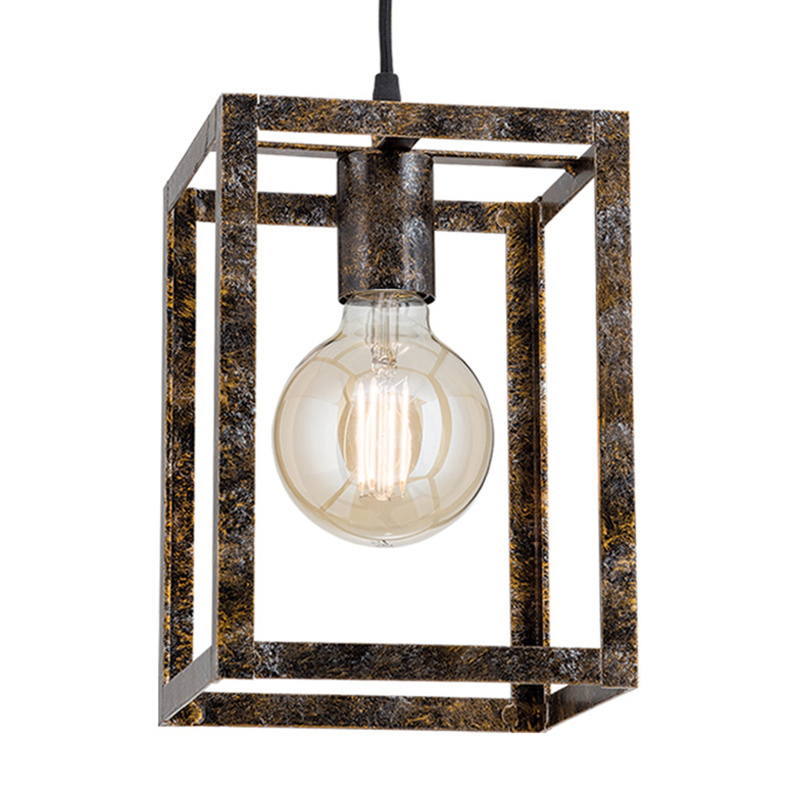 Hanglamp Cage in roest-optiek 1 lamp