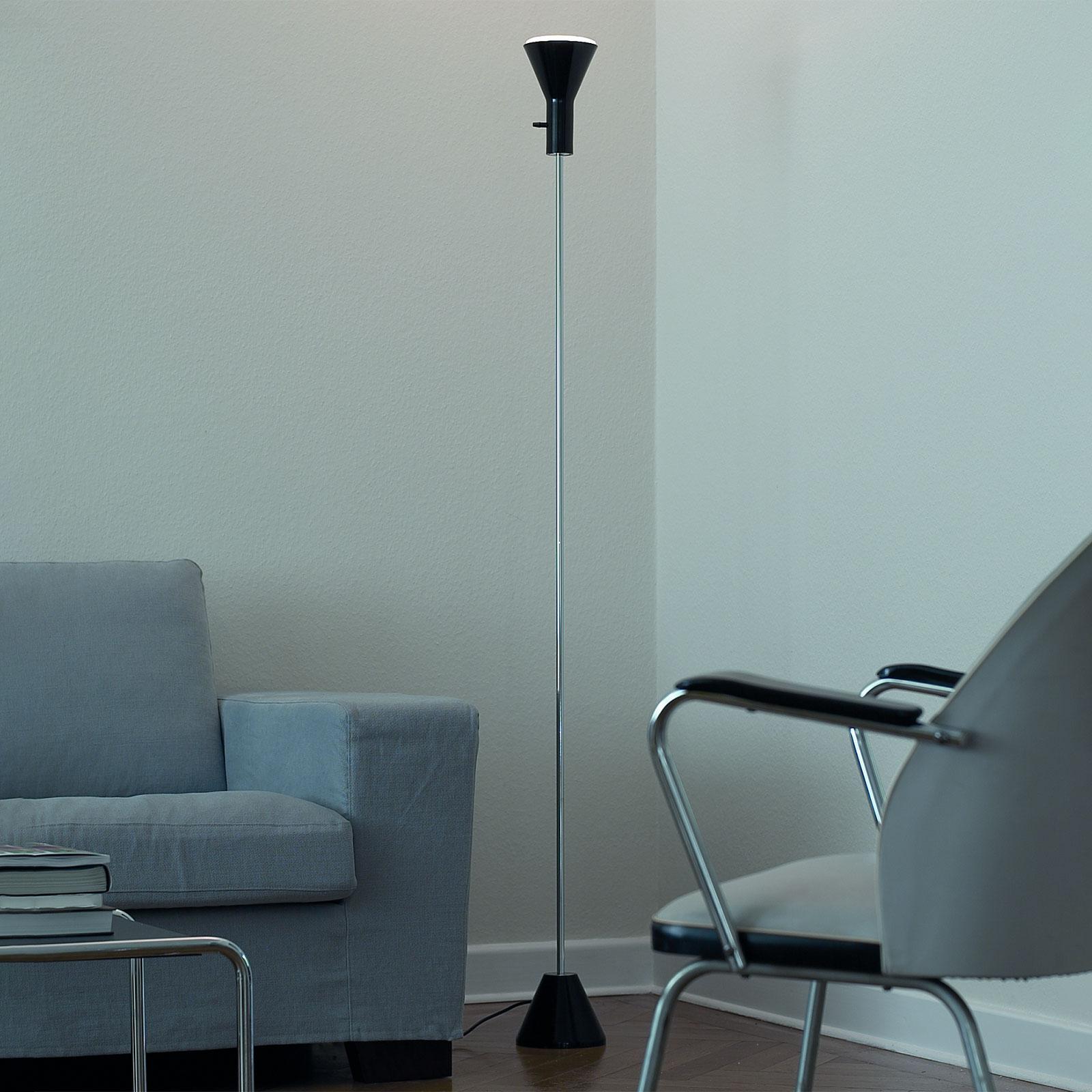 Smukła lampa stojąca LED Gru, ściemniana