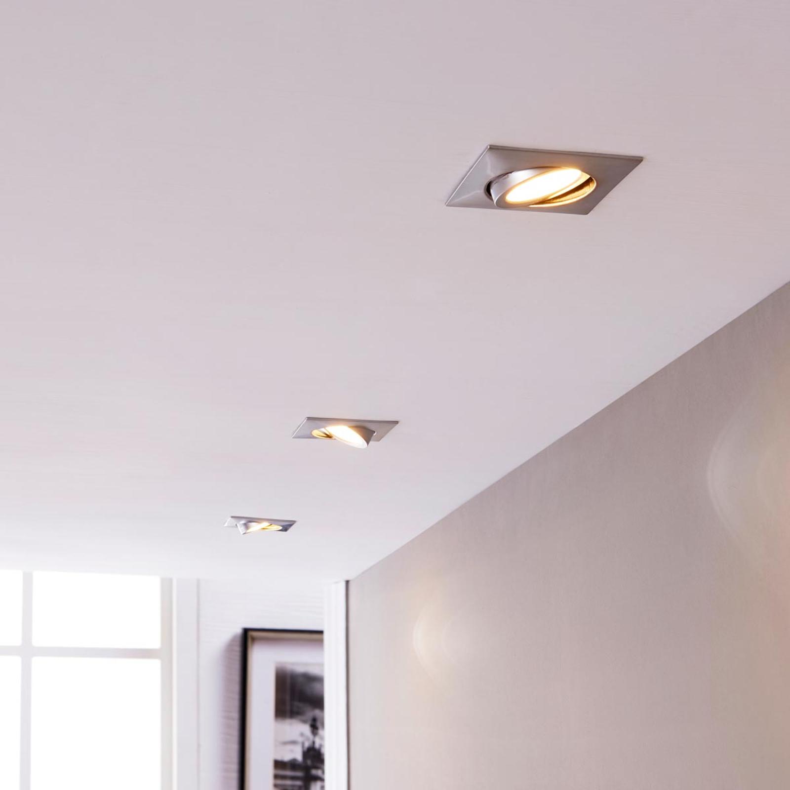 Lampes LED encastrées chromé rectangulaires par 3