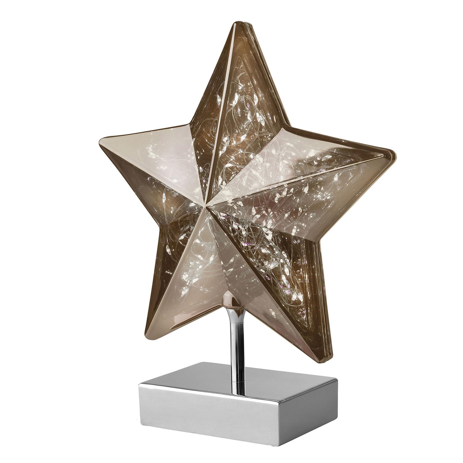 Stolní lampa Stella tvar hvězdy 27 cm, kouřová