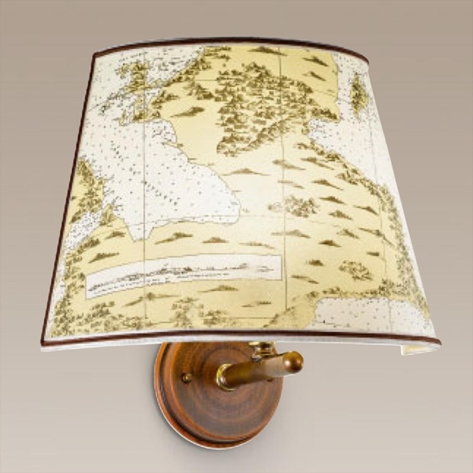 Nástěnné světlo Laguna, námořní design se dřevem