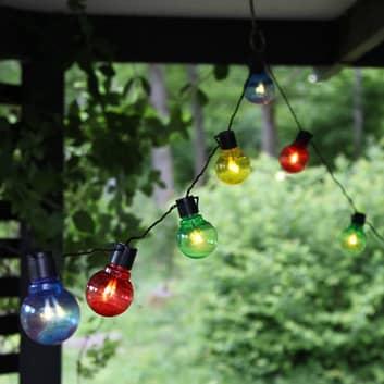 Fargerik LED-lyslenke Partaj med 16 pærer.