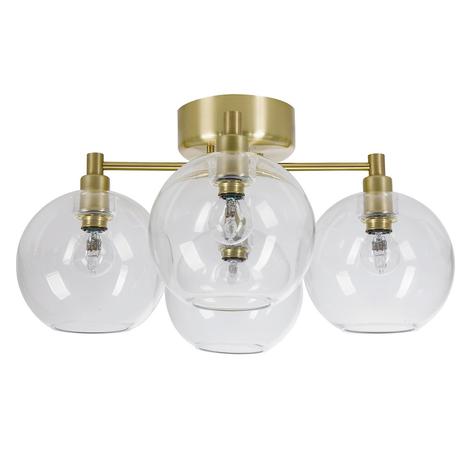 Plafonnier en verre Gloria, 4 lampes, laiton