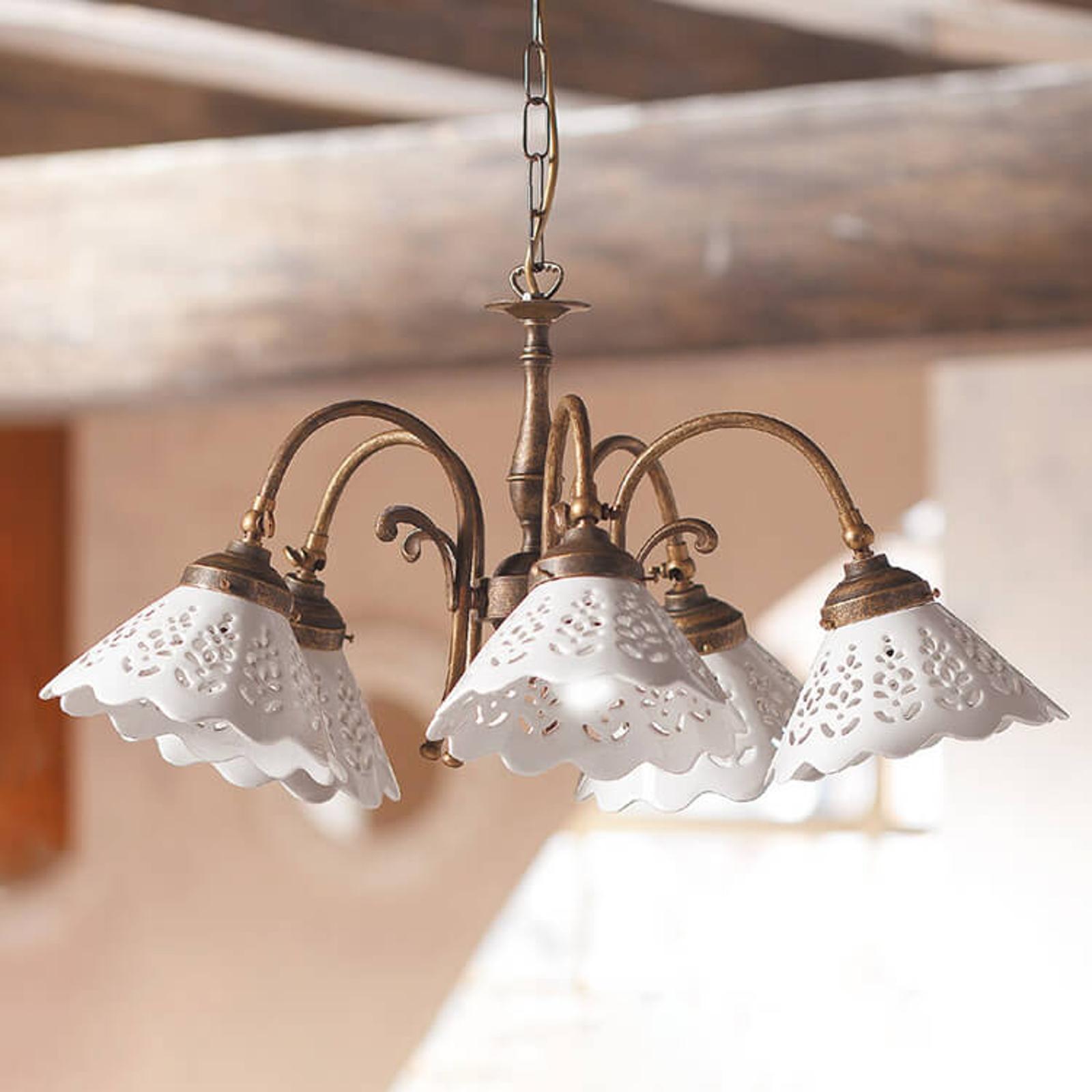 Semino hængelampe med keramikskærme, 5 lyskilder