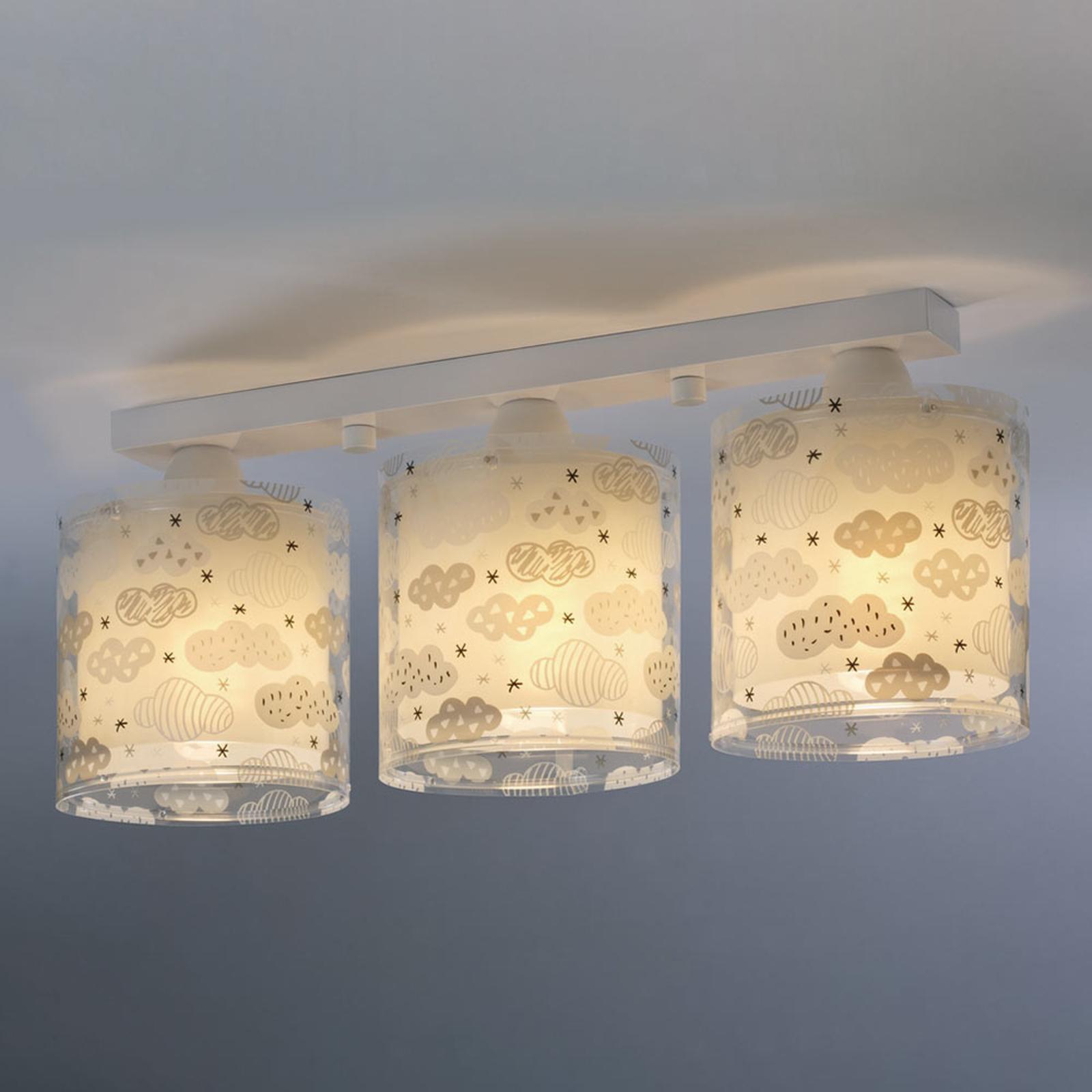 Clouds loftlampe til børn, 3 lyskilder, grå