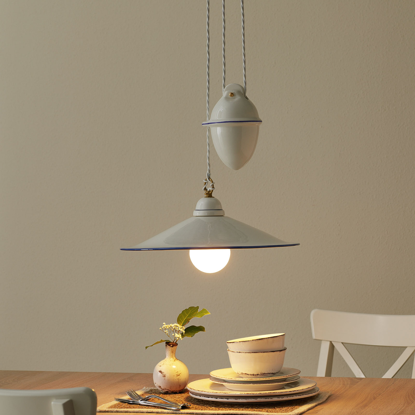 Hanglamp PIATTO met trekgewicht