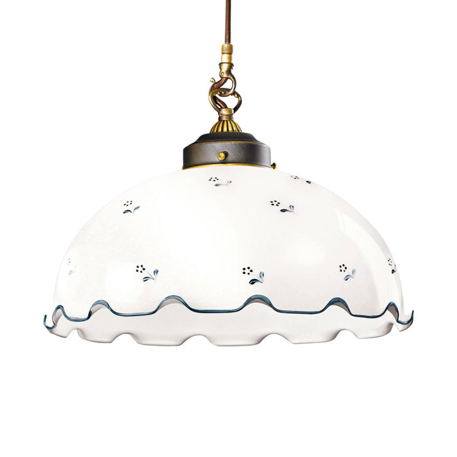 Lampa wisząca Nonna Blume, biało-niebieska Ø 36 cm
