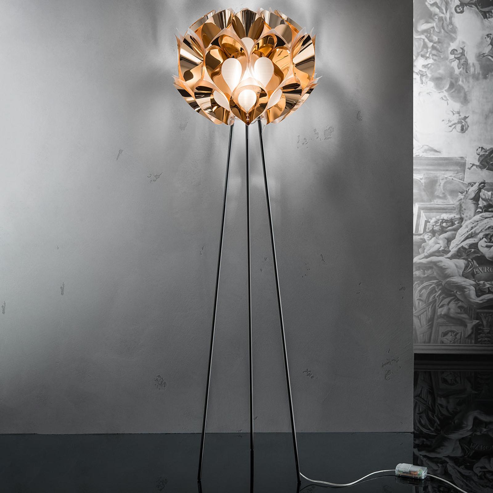 FLORA - designerska lampa stojąca, miedziana
