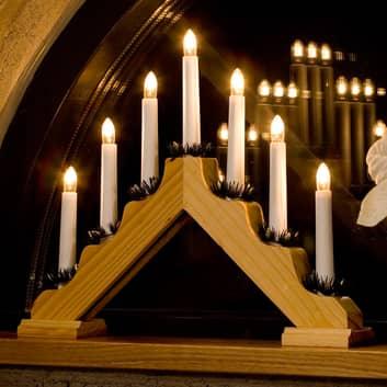 Licht-houten kandelaar, 7-lichts.
