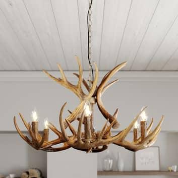 Lindby Fibi hængelampe, gevir, brun