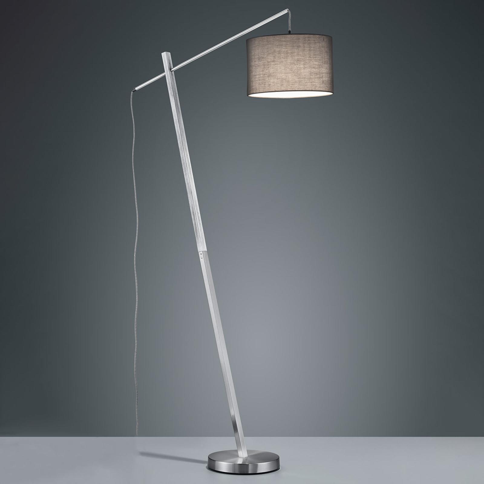 Vloerlamp Padme met grijze stoffen kap