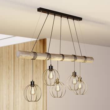 Hanglamp Karou, 5-lamps, grijs gebeitst