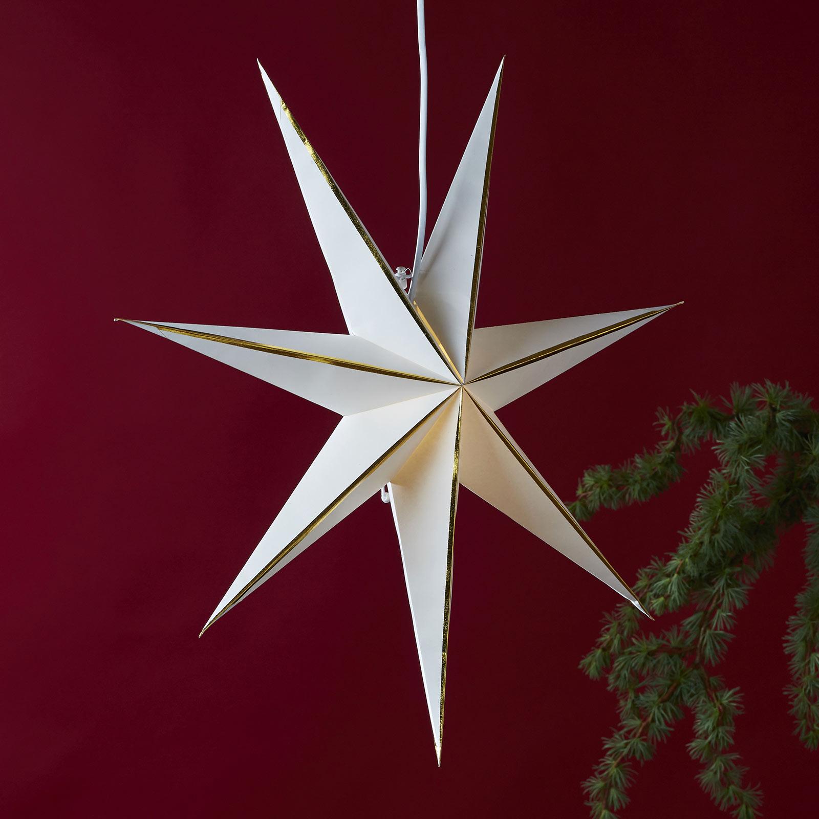 Lysa stjerne af papir, hvid/guld