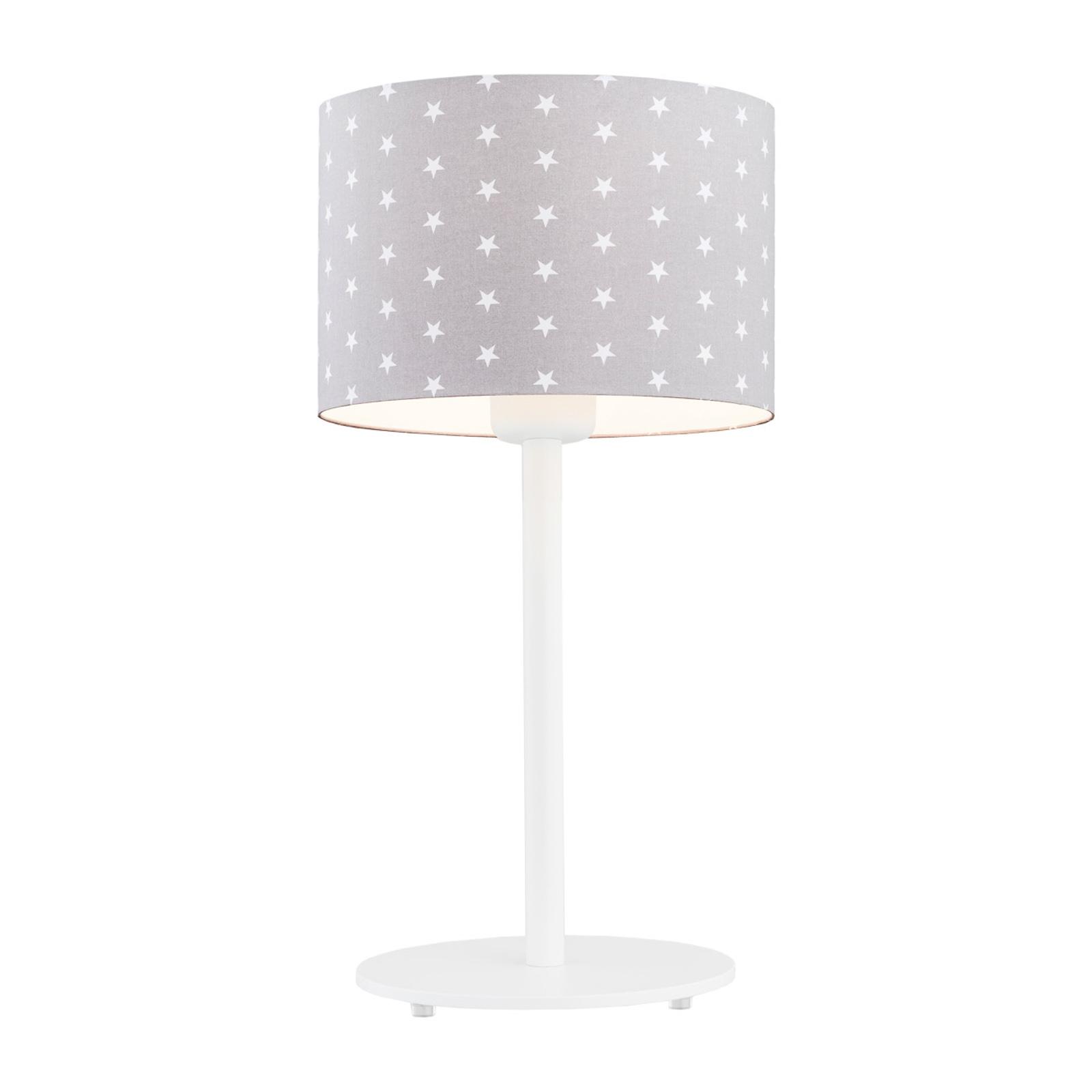Moa bordlampe, grå stofskærm/hvide stjerner