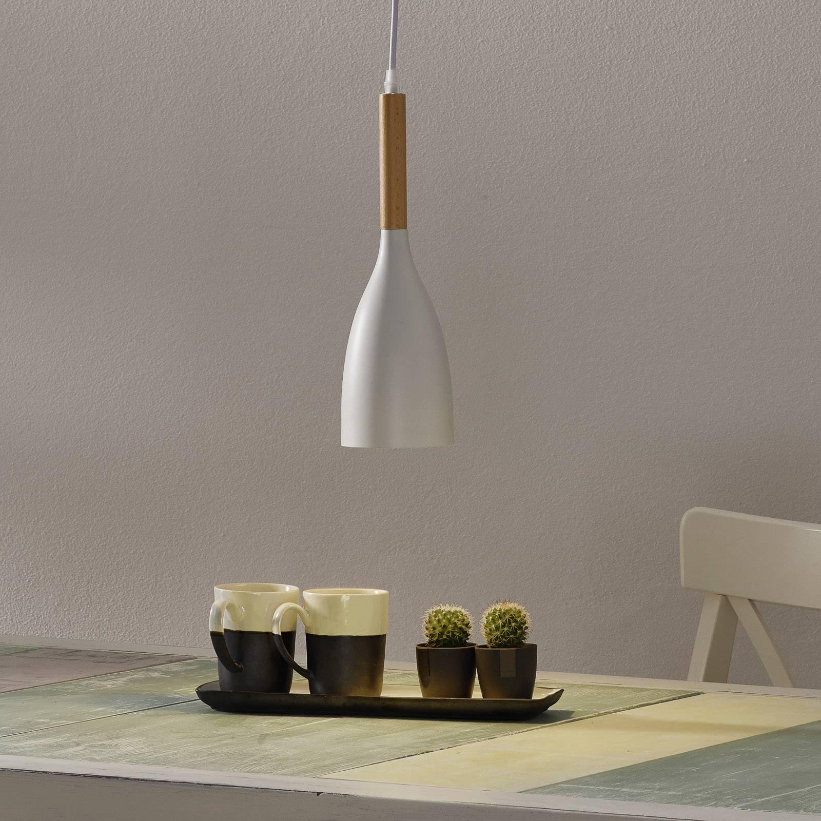 Hanglamp Manhattan met houtdetail, wit