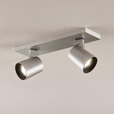Spot pour plafond Iavo, aluminium, à 2 lampes
